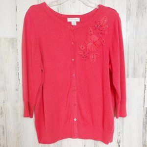 Cardigan Sweater Embellished Flowers Size XL Coral